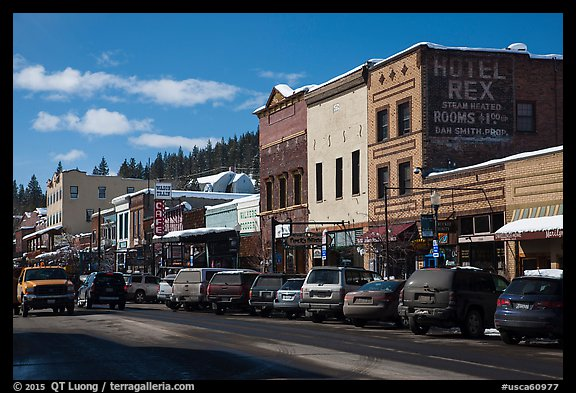 Main street in winter, Truckee. California, USA (color)