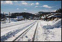 Railroad tracks in winter, Truckee. California, USA ( color)