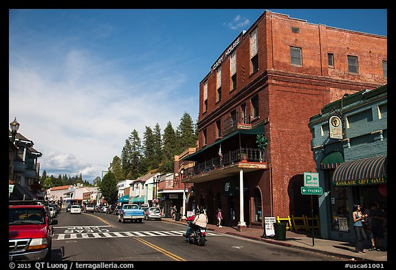 Brick building and main street, Placerville. California, USA (color)