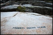 Federal Mining Claim painted on rocks, El Dorado County. California, USA ( color)
