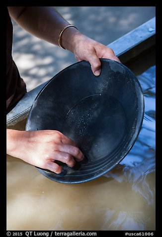 Hands holding pan, Gold Bug Mine, Placerville. California, USA (color)