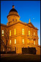 Placer County Courthouse and crescent moon, Auburn. California, USA ( color)