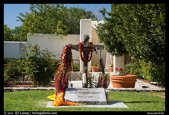 Grave of Cesar Chavez, Cesar Chavez National Monument, Keene. California, USA (color)