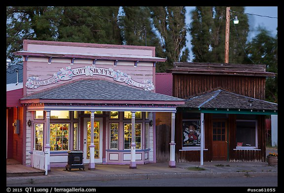 Gift shop and historic buildings, Cedarville. California, USA (color)