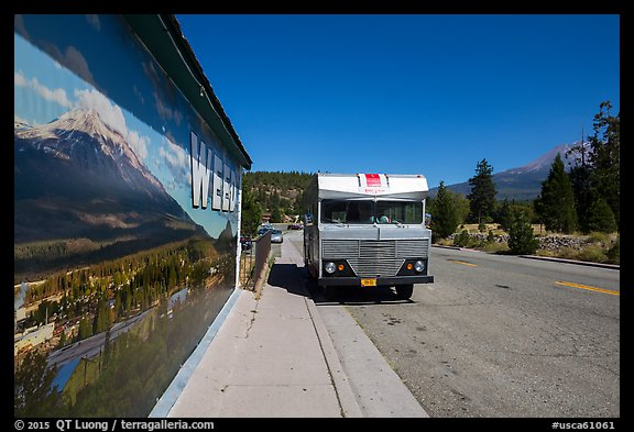 Mural and Mount Shasta, Weed. California, USA (color)