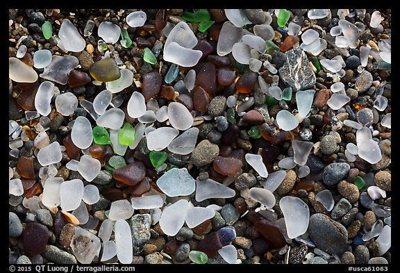 Seaglass close-up. Fort Bragg, California, USA (color)