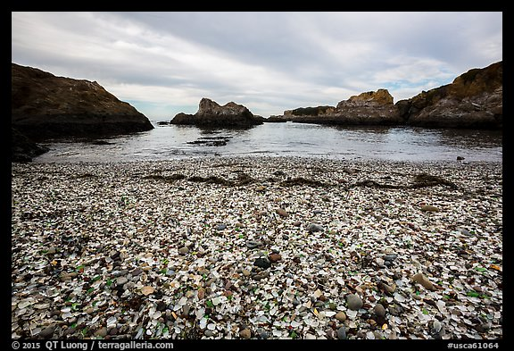Beach covered with seaglass. Fort Bragg, California, USA (color)
