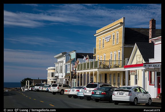 Mendocino Hotel and main street. Mendocino, California, USA (color)