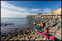 Sea Kayakers and Wharf. California, USA ( color)