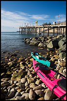 Sea Kayaks used for abalone diving and Wharf. California, USA ( color)