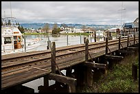 Railroad tresle and Petaluma River and Yacht Club. Petaluma, California, USA ( color)