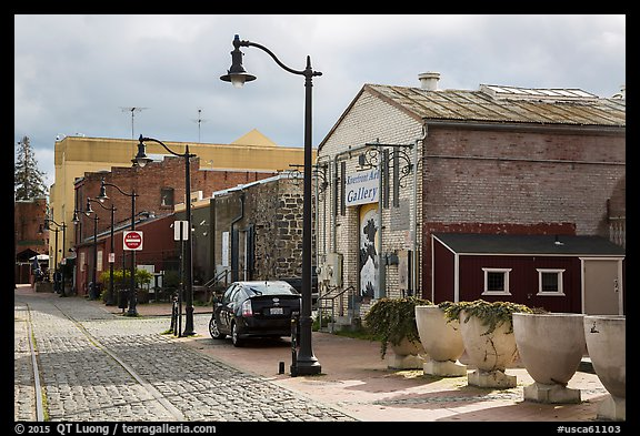 Cobblestone street in downtown. Petaluma, California, USA (color)