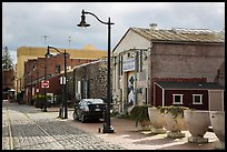 Cobblestone street in downtown. Petaluma, California, USA ( color)