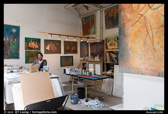 Artist in painting studio. Berkeley, California, USA (color)