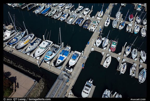 Aerial view of yachts in harbor. Monterey, California, USA (color)