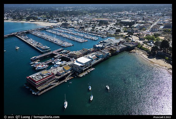 Aerial view of wharf and harbor. Monterey, California, USA (color)