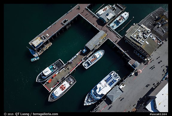 Aerial view of wharf and tour boats. Monterey, California, USA (color)