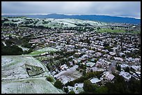 Aerial view of Meadowlands and hills covered by hail. San Jose, California, USA ( color)