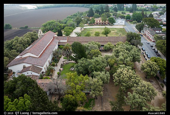 Aerial view of Mission San Juan courtyard and San Juan Bautista State Historic Park. San Juan Bautista, California, USA (color)