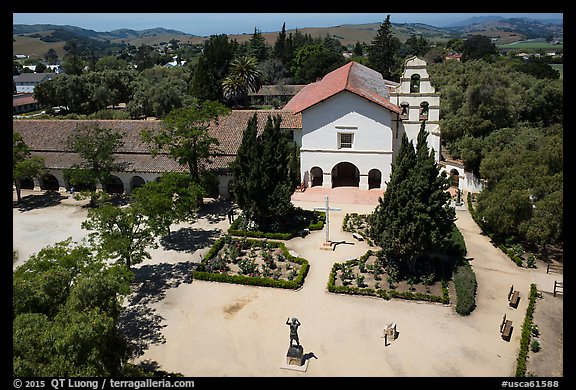 Aerial view of Mission San Juan Bautista. San Juan Bautista, California, USA (color)