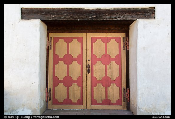 Decorated wooden door, Mission San Miguel. California, USA (color)