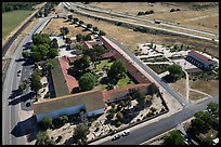 Aerial view of Mission San Miguel between railroad and highway. California, USA ( color)