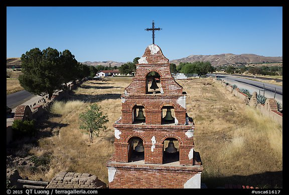 Aerial view of Mission San Miguel bell tower. California, USA (color)