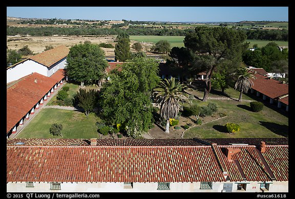 Aerial view of Mission San Miguel rooftops, church, and courtyard. California, USA (color)