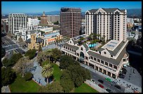 Aerial view of Fairmont Hotel, San Jose Museum of Art, and downtown. San Jose, California, USA ( color)