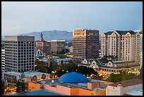 San Jose skyline at dusk with landmark downtown buildings. San Jose, California, USA ( color)