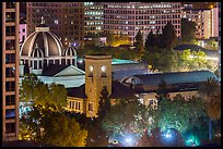 San Jose Museum of Art and St Joseph Cathedral at night from above. San Jose, California, USA ( color)