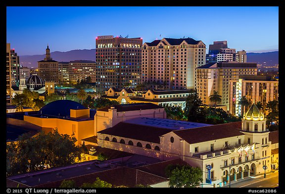 City National Civic and city skyline at night. San Jose, California, USA (color)