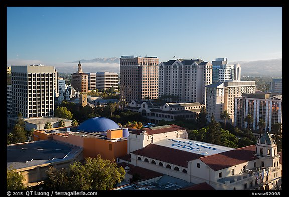 City National Civic, Tech Museum, and city skyline. San Jose, California, USA (color)