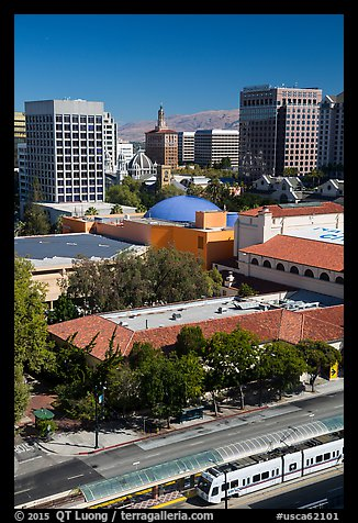 Light rail, Tech Museum and downtown skyline from above. San Jose, California, USA (color)