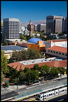 Light rail, Tech Museum and downtown skyline from above. San Jose, California, USA ( color)