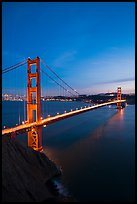 Golden Gate Bridge and city at dusk. San Francisco, California, USA ( color)