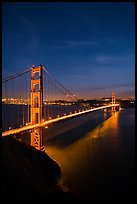 Golden Gate Bridge and city at night. San Francisco, California, USA ( color)