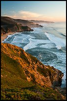 Coastline, Grey Whale Cove, and Montara, sunset. San Mateo County, California, USA ( color)