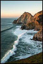 Surf, Devils slide, sunset. San Mateo County, California, USA ( color)
