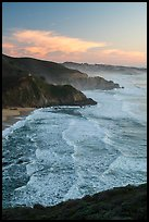 Surf, Grey Whale Cove and Montara, sunset. San Mateo County, California, USA ( color)