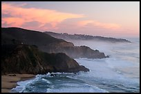 Coastline and Montara, sunset. San Mateo County, California, USA ( color)