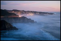 Coastline and Montara, dusk. San Mateo County, California, USA ( color)