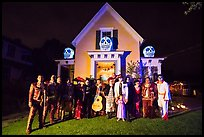 Halloween revelers and decorated house. Petaluma, California, USA ( color)