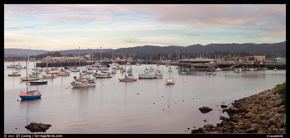 Municipal Wharf and Fishermans Wharf, late afternoon. Monterey, California, USA (color)