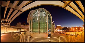 San Jose City Hall rotunda at dusk. San Jose, California, USA (Panoramic color)