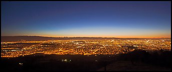 Lights of San Jose and Silicon Valley at sunset. San Jose, California, USA (Panoramic color)