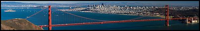 Golden Gate Bridge and view from Alcatraz to San Francisco, fall afternoon. San Francisco, California, USA (Panoramic color)