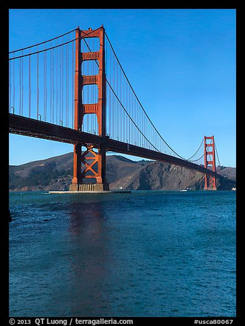 Golden Gate Bridge from water level, afternoon. San Francisco, California, USA (color)
