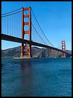 Golden Gate Bridge from water level, afternoon. San Francisco, California, USA (Panoramic color)