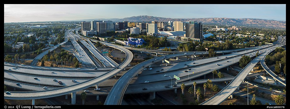 Aerial view of downtown and freeways. San Jose, California, USA (color)